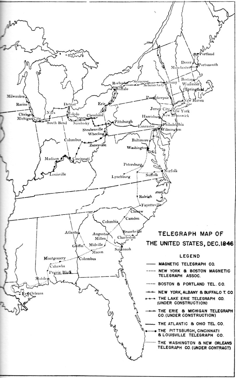 Telegraph Map Of The United States Dec 1846